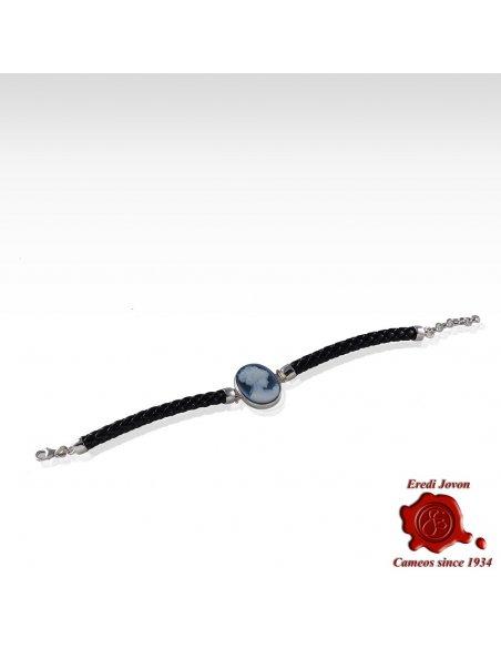 Silver Blue Cameo Bracelet