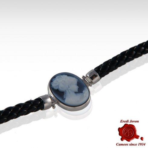 Blue Agate Cameo Bracelet