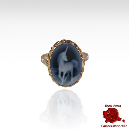 Blue Cameo Unicorn Ring