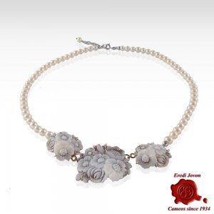 Black Coral Cameo Necklace