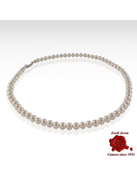 Collana Perle Naturali Chiusura Argento