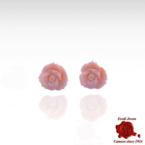 Pink Coral Roses Earrings Silver