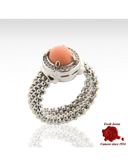 Smooth round Coral Bead And Zircons Ring
