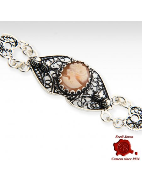 Silver Filigree Woman Profile Cameo Bracelet