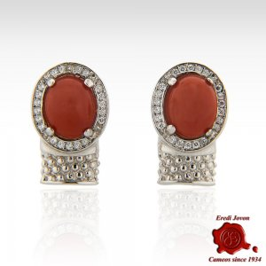 Cabochon Coral Bead Graven Silver Set Earrings