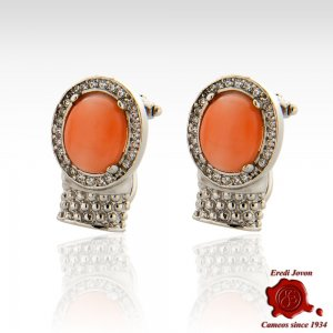 Oval Coral Bead Stud Silver Earrings