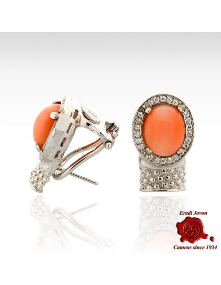 Oval Coral Bead Stud Silver Earrings