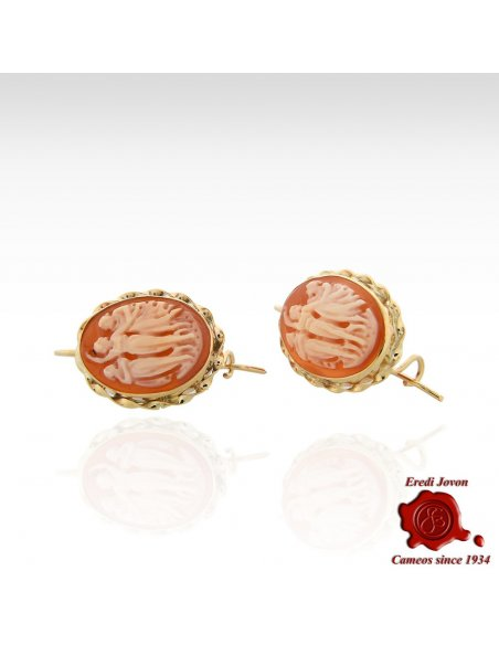 Leverback Oval Hand Carved Cameo Earrings