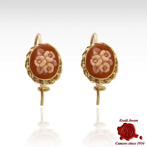 Oval Vintage Carved Flower Composition Earrings