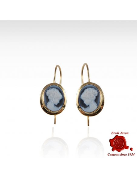Venice Cameo Gold Dangle Earrings