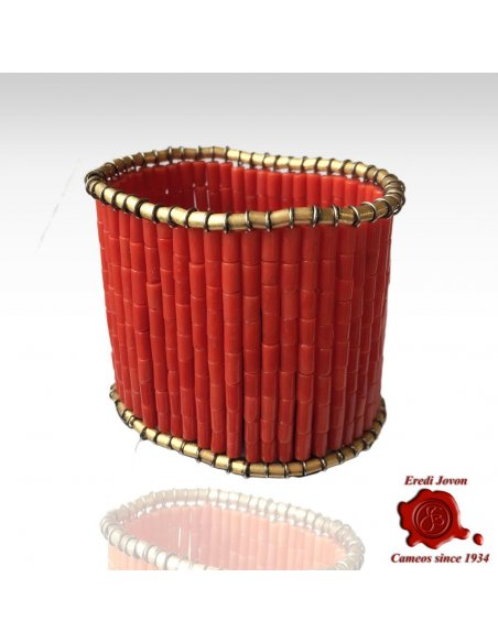 Red Coral Bracelet Gold