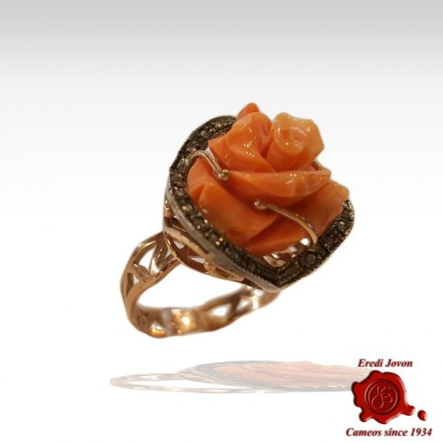 Coral Ring Engraved Rose