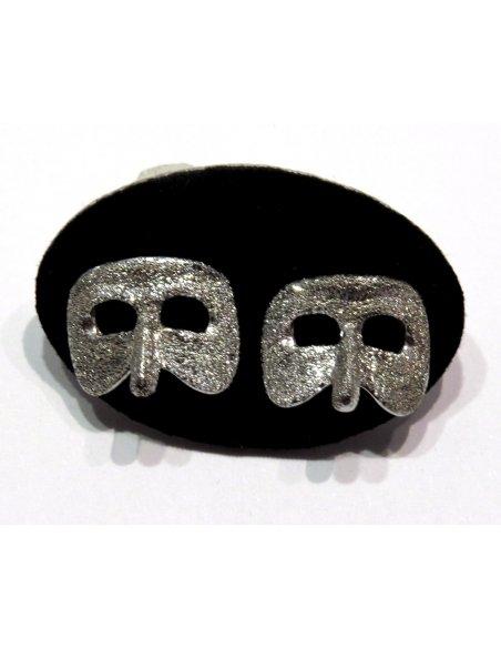 Carnival Mask Earrings Silver