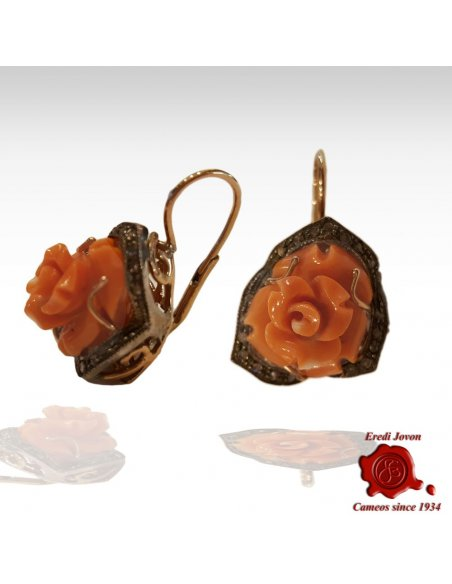 Coral Engraved Rose Earrings Rinascimento