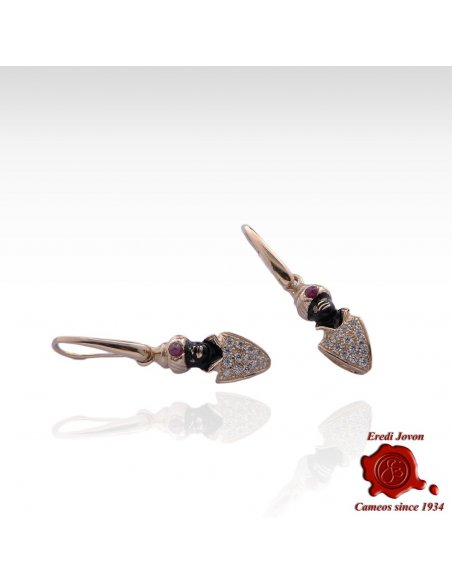 Moretto Zircons Enamel And Rubies Pendant Earrings