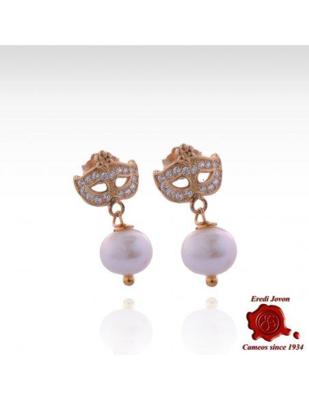Zircons And Pearls Colombina Mask Earrings