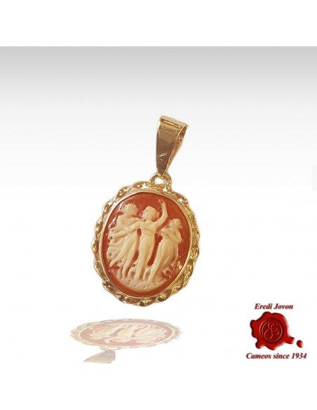Unique Oval Cameo Trinket Gold Set