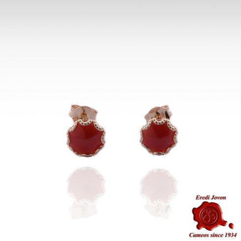 Mediterranean Coral Gold Set Stud Earrings