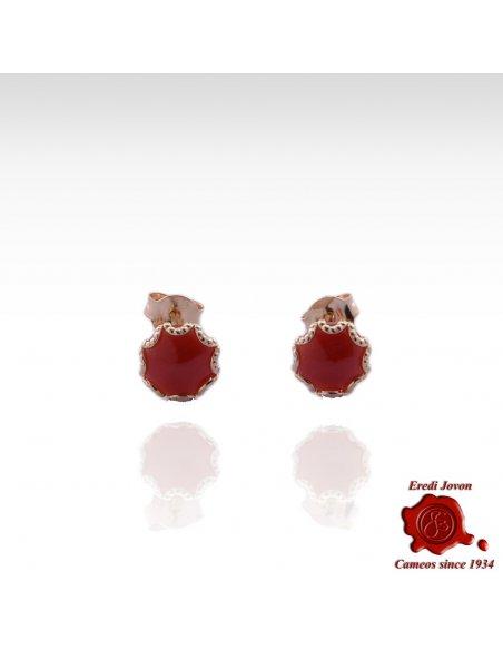 Mediterranean Coral Gold Set Stud Earrings