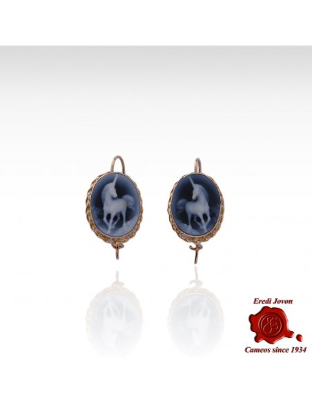Unicorn Blue Cameo Gold Earrings