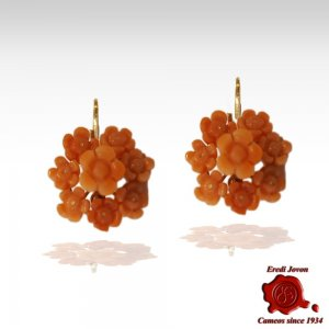Dangle Italian Coral Daisies Earrings Gold Set