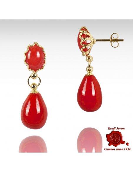 Orecchini Pendenti Corallo Rosso Filigrana Oro