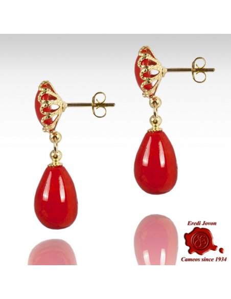 Red Coral Dangle Earrings Filigree Gold Set