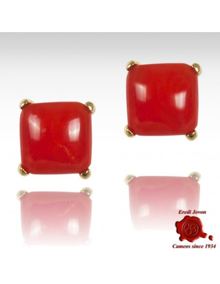 First Quality Italian Coral Stud Earrings