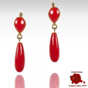 Gold Set Mediterranean Red Coral Earrings