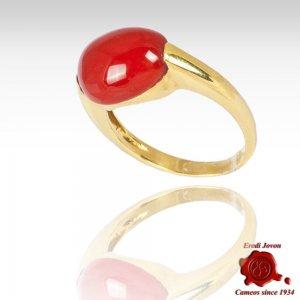 Mediterranean Coral Plain Gold Set Ring