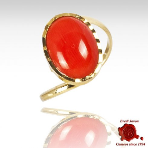 Mediterranean Coral Multifaceted Gold Set Ring