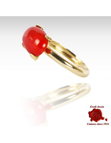 Cabochon Coral Bead Ring Gold Set