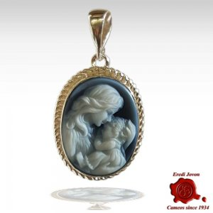 mother and baby cameo blue