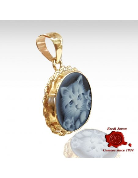 Cat Blue Cameo Necklace in Gold