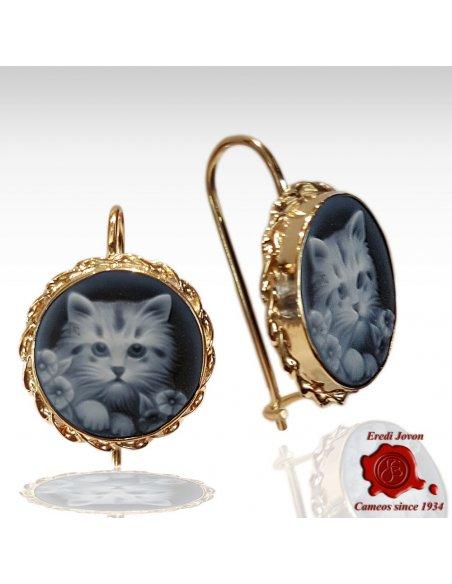 Gatto orecchini in oro con cammeo blu