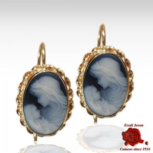 Holy Virgin Gold Cameo Earrings