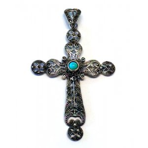 Antique Tourquoise Cross Silver Marcasite