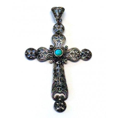 Croce Argento Marcasite