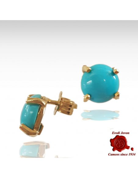 Turquoise Stud Earrings Gold