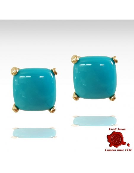 Square Turquoise Stud Earrings Gold