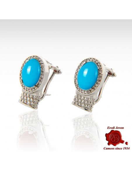 Cabochon Turquoise Silver Set Earrings