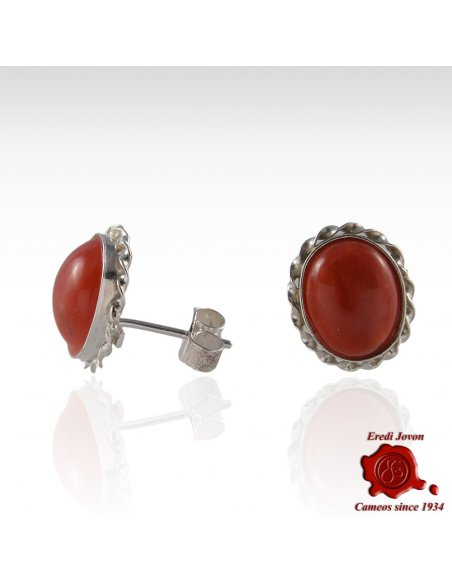 Red Coral Silver Earrings post or Dangle