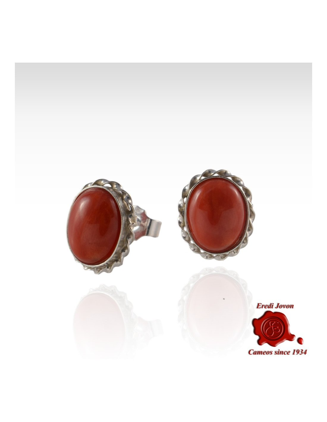 Red C Earrings Silver Dangle Or