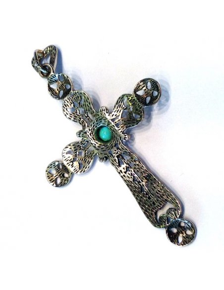Silver Cross Marcasite Turquoise