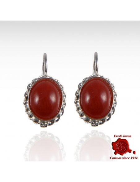Red Coral 925 Silver Earrings
