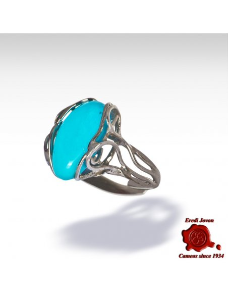 Genuine Turquoise Ring in Silver