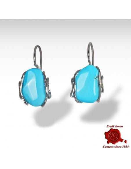 Turquoise Stone Earrings in Silver