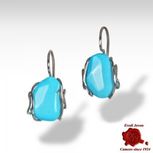 Turquoise Stone Earrings in Silver