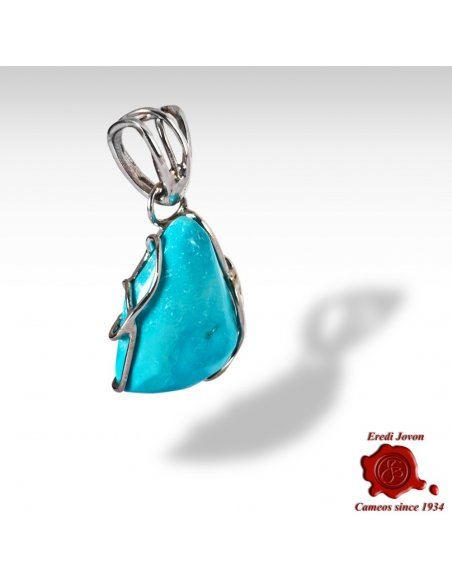 Turquoise Stone Pendant in Silver