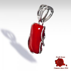 Blood Red Coral Pendant in Silver